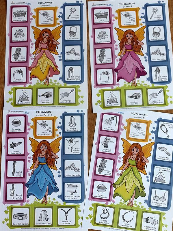 Logopedická hra vílí slavnost herní listy s vílami různých barev